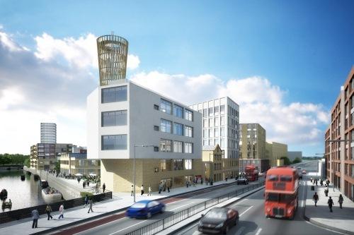 Ein ganzes Quartier mit 1.200 Wohnungen, riesigen Büroflächen und viel Grün wird zum nachhaltigen Vorzeigeprojekt in der Metropole London. (c) LandProb/Inter IKEA Systems