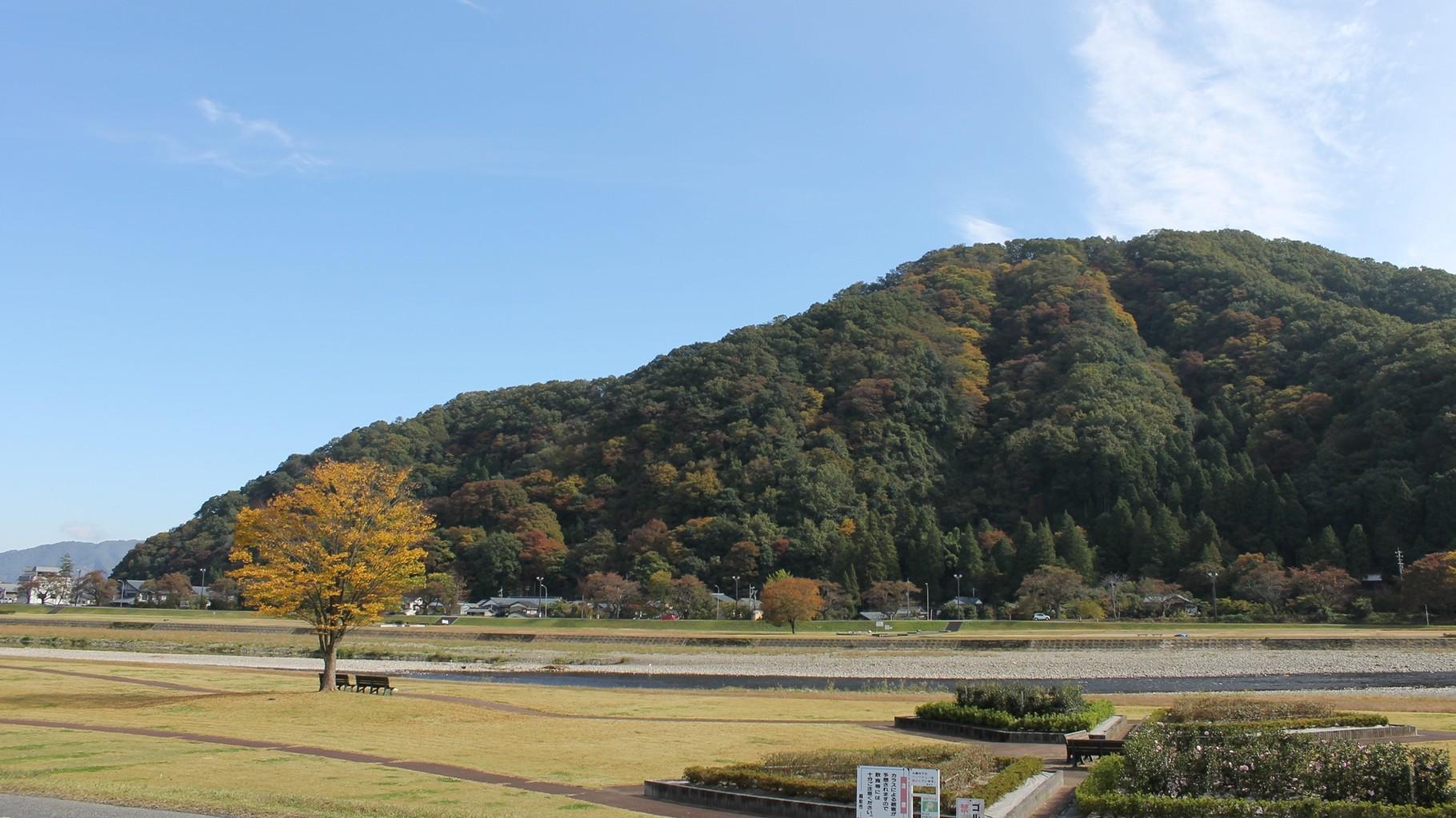 (秋) 住宅近くの紅葉が美しい日野川緑地公園と村国山