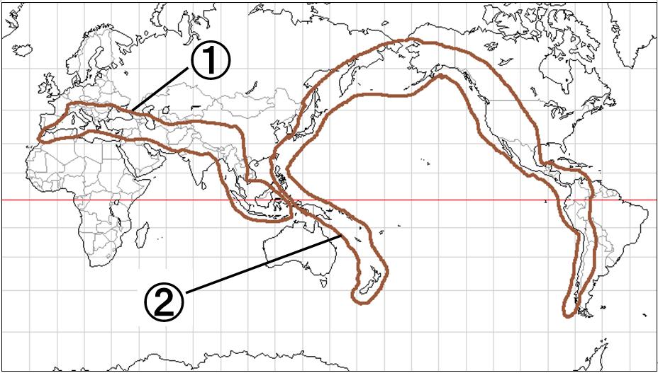 中学地理:世界の地形/穴うめ(ざっくり)