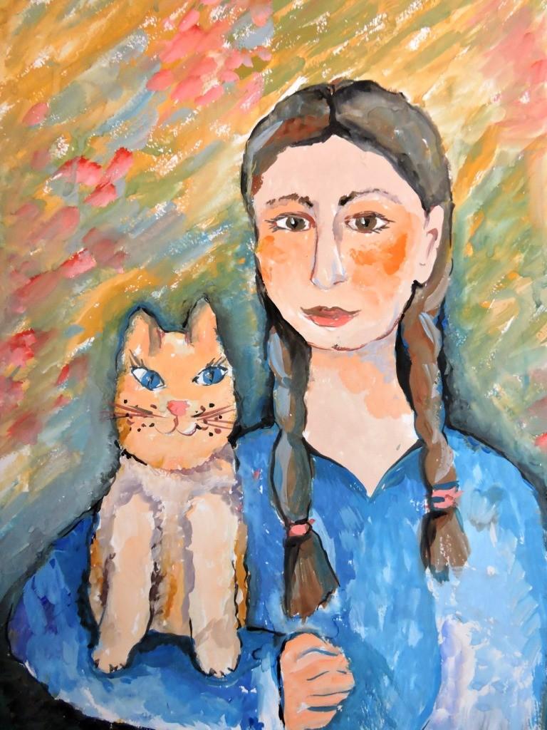 Кузнецова Марина, Челябинская область, г. Троицк, ДШИ № 2, Автопортрет с котёнком