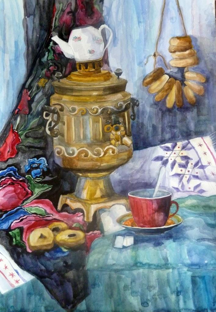 Кулибаба Анастасия, Челябинская область, г. Копейск, ДШИ № 2, Натюрморт с самоваром