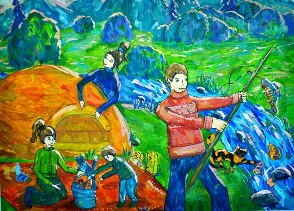 Зайкова Екатерина, Кемеровская область, г. Новокузнецк, ДШИ № 1, На рыбалке всей семьей