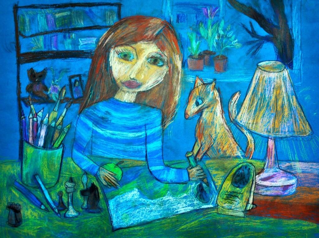 Зайкова Екатерина, Кемеровская область, г. Новокузнецк, ДШИ № 1, С любимой кошкой рисуем
