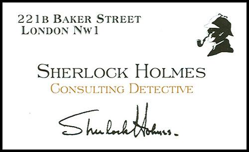 Visitenkarte Sherlock Holmes; Consulting Detective Cologne, Private Investigator Cologne