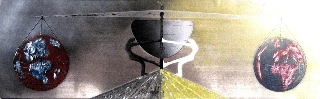Das Gleichgewicht zwischen Gut und Böse (Format 60x20 ) auf Metallfolie