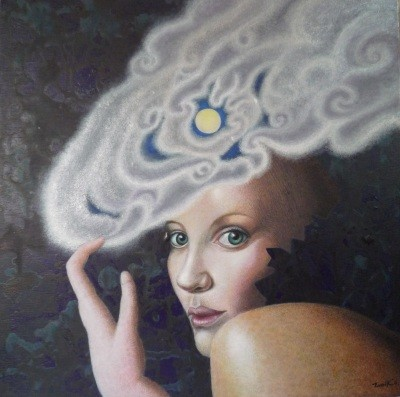 Woman Wearing Full Moon with Cloud           acrylic on canvas 15.7x15.7 inch,   40x40 cm 2014