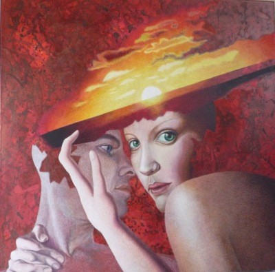 Woman Wearing Sunset hat           acrylic on canvas 27.5x27.5 inch, 70x70 cm 2014
