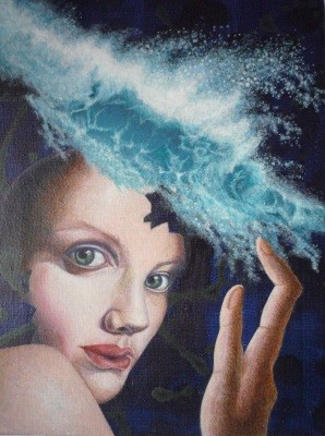 Woman Wearing Waves          acrylic on canvas 13x9.5 inch,   33.3x24.2 cm 2014