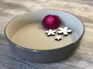 Stoneware-Form von Pampered Chef®, rund 26 cm Durchmesser mit grauer Lasur
