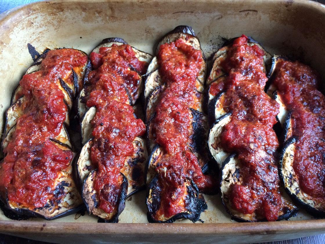 Auberginen aus der Ofenhexe