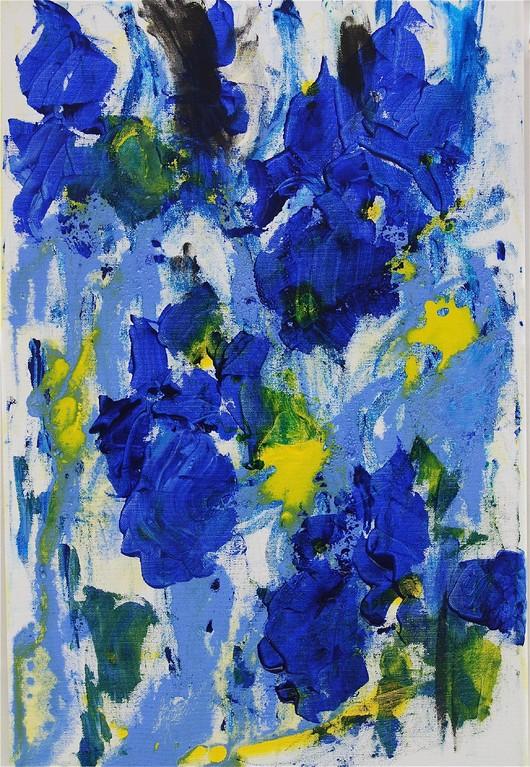 Schwertlilien - blau (2012), Öl & Acryl auf Leinwand, 40x60cm