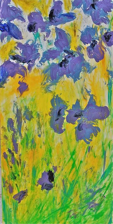 Lilien in Wiese (2012), Öl & Acryl auf Leinwand, 60x120cm
