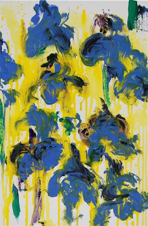 Schwertlilien - blau auf gelb (2012), Öl & Acryl auf Leinwand, 40x60cm