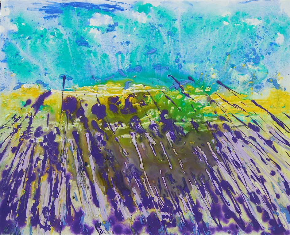 Lavendelfelder (2012), Öl & Acryl auf Leinwand, 100x80cm