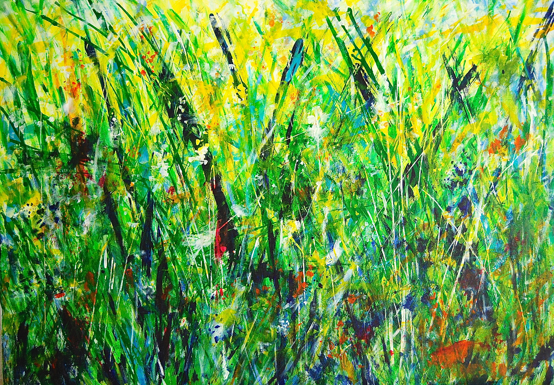und nochmal Gräser, Acryl auf Leinwand, 70 x 100 cm, 2014