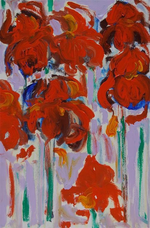 Schwertlilien - rot (2012), Öl & Acryl auf Leinwand, 40x60cm
