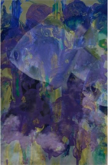 Lilie (Gemälde) + Fisch (Photo) = Wasserlilie (mit Fisch)