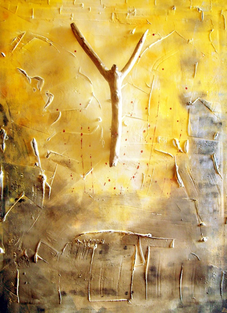 Am Kreuz, 60x80, Acryl und Holz auf Leinwand (verkauft)