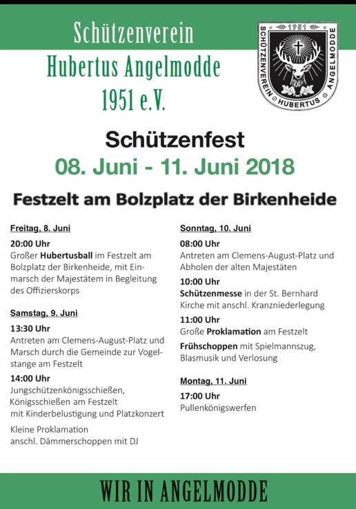 Schützenfest Hubertus Angelmodde - Der Zeitplan!