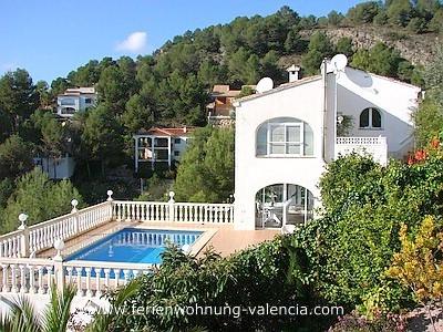 Auf dem Bild sehen Sie die Villa Gandia Hills mit Pool und Sonnen-Terrasse der Feriengäste, Foto: Birgitta Kuhlmey, Valencia, Spanien