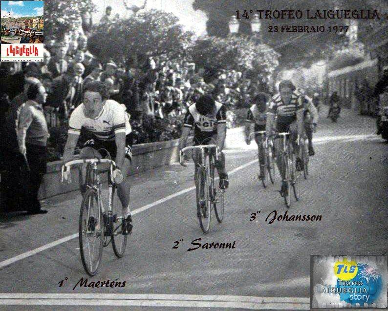 L'arrivo vittorioso di Freddy Maertens davanti a Beppe Saronni e Johansson.                                Foto: courtesy Nico Anfosso