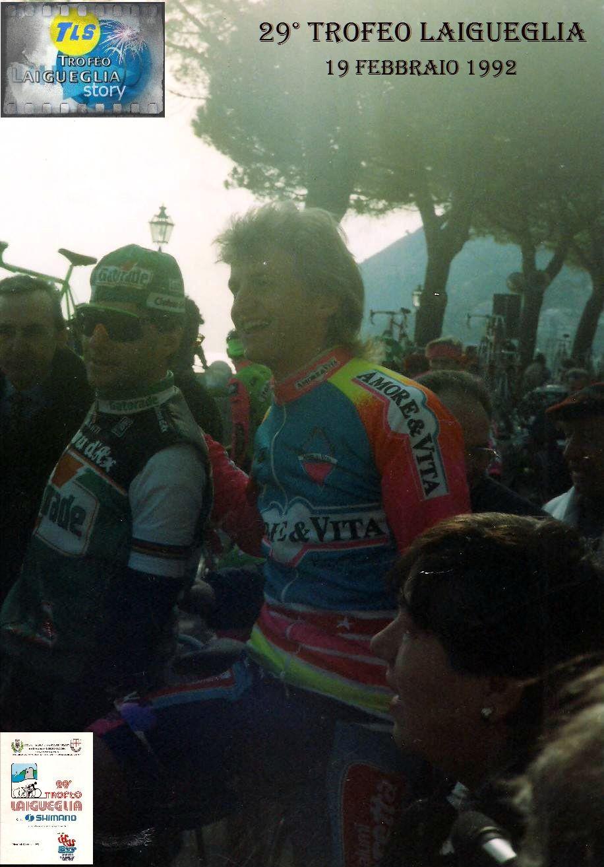 Foto courtesy: archivio AVL, il campione del mondo Gianni Bugno alla partenza del Trofeo Laigueglia 1992.