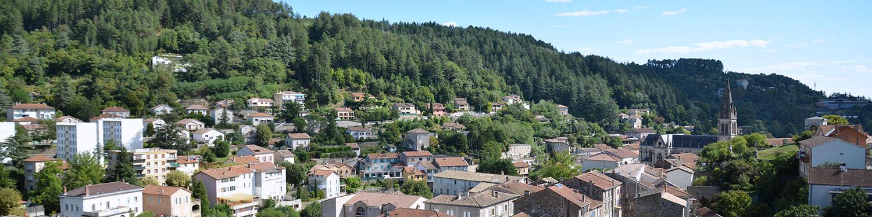 Vue de Vals-les-Bains en sud Ardèche