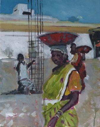 Bauarbeiterin, 2014, Tanjavur, 50 x 40 cm