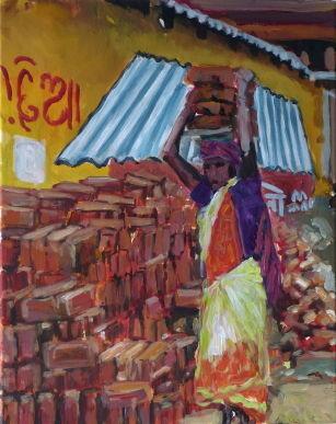 Bauarbeiterin, Puri, 2014, 50 x 40 cm