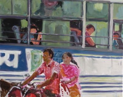 Bus Station, Tiruvannamalai, 2014, 40 x 50 cm