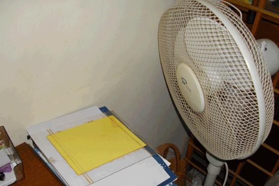 sêchage devant un ventilateur pendant quelques heures