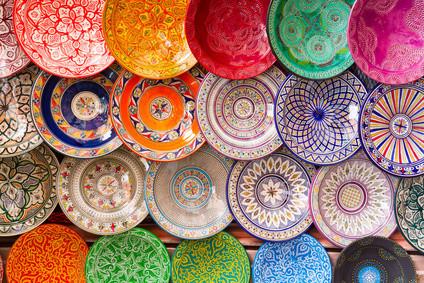 Marokkanische Teller bunt gemustert - CASAORIENT Stuttgart