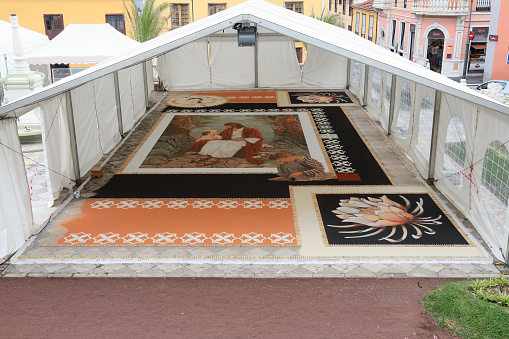 gelegte Sandteppiche zum Fronleichnamsfest in La Orotava Teneriffa, Städte Teneriffa