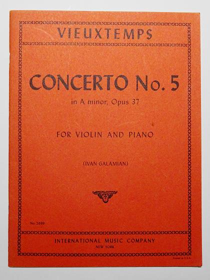 ヴュータン ヴァイオリン協奏曲 第5番 ガラミアン 校訂譜 VIEUXTEMPS CONCERTO No.5 INTERNATIONAL MUSIC COMPANY No.2699 ヴァイオリン教室 バイオリン レッスン