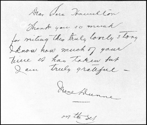 The note of appreciation which Miss Dunne wrote on the last page of the author's manuscript