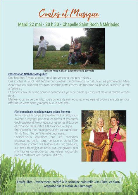 Anne Rech à la harpe celtique et Eliza Perrin à la flûte irlandaise, accompagnées de Nathalie Masquilier aux contes  Animation conte et musique dans le cadre de la semaine culturelle a Plumergat