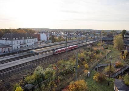 Bahnhof Neubrandenburg Luftbild vor Visualisierung