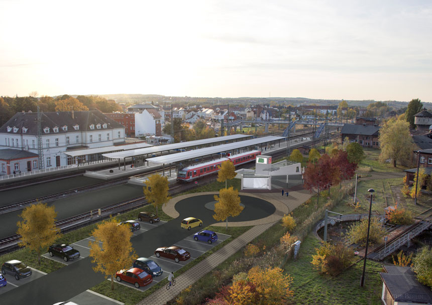 Bahnhof Neubrandenburg Luftbild nach Visualisierung