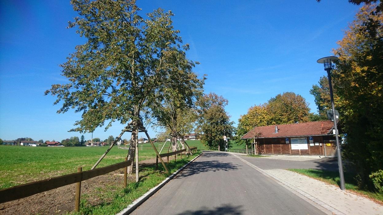 Die umgebaute Straße mit Gehweg
