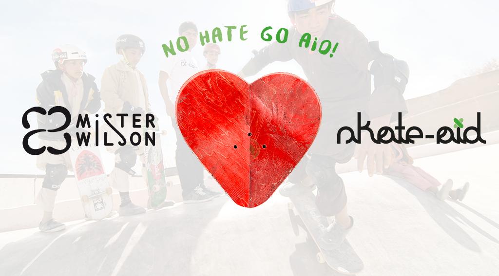 Mister Wilson Kollaboration mit skate-aid der weltweit agierenden Hilfsorganisation aus Münster. Pro verkauftem recycling skateboard Hocker geht eine Spende an den Verein.