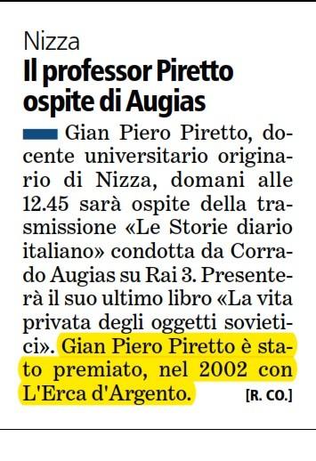 Articolo La Stampa 8-01-2013