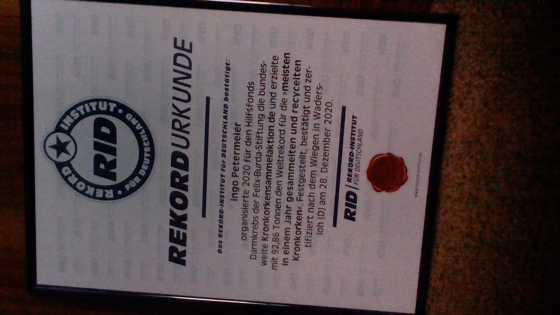 Weltrekord Urkunde ist da