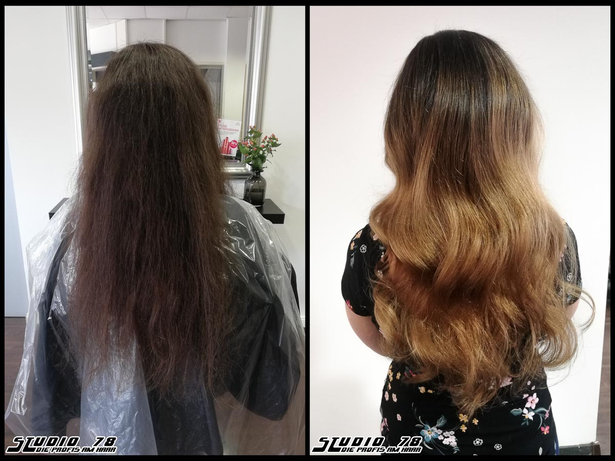 Coloration Haarfarbe  braun brown balayage coloration vorher nachher