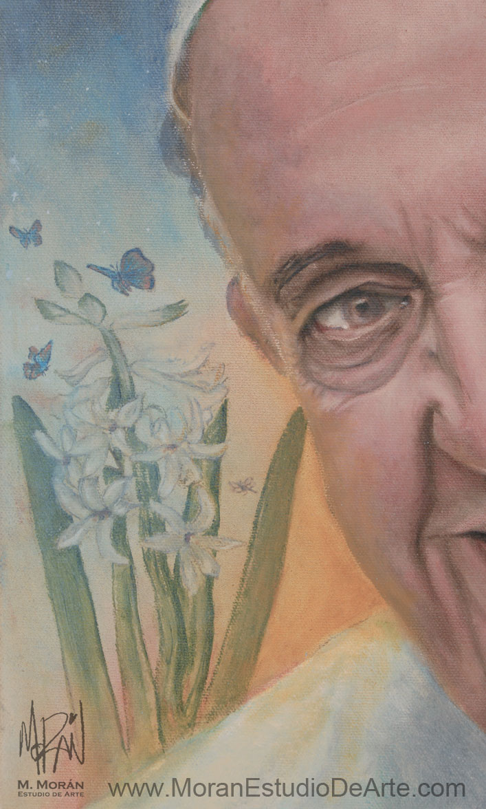 Papa Francisco Retrato al oleo sobre tela