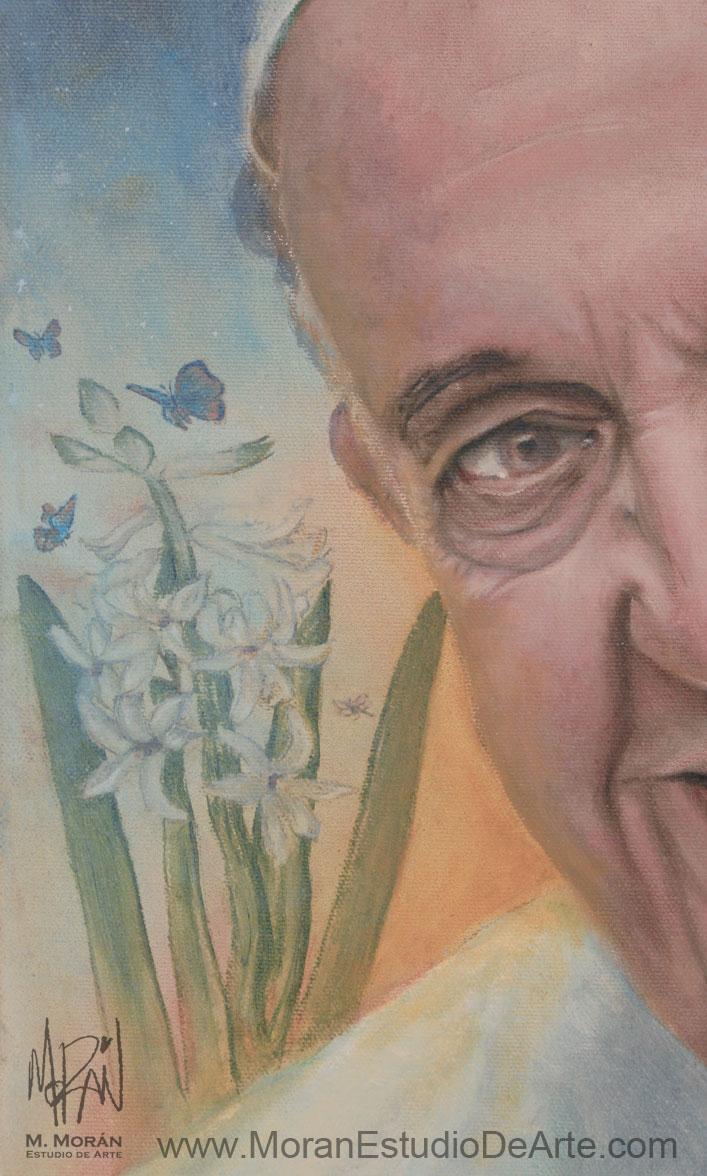Papa Francisco Retrato al oleo sobre tela (detalle)