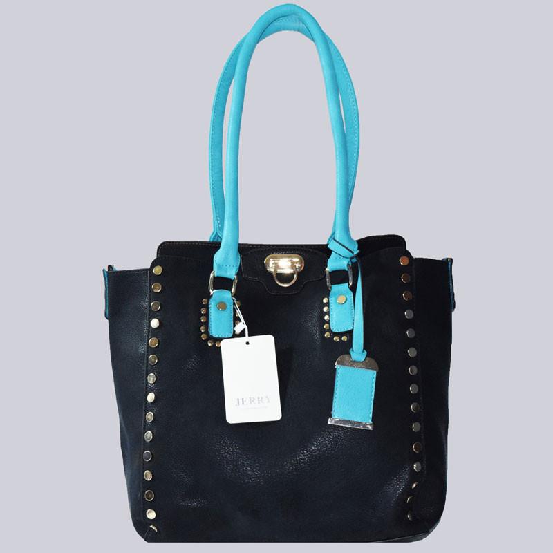 Eine wunderschöne Handtasche, schwarz, türkis mit tollen Nieten und vielen schönen Details.