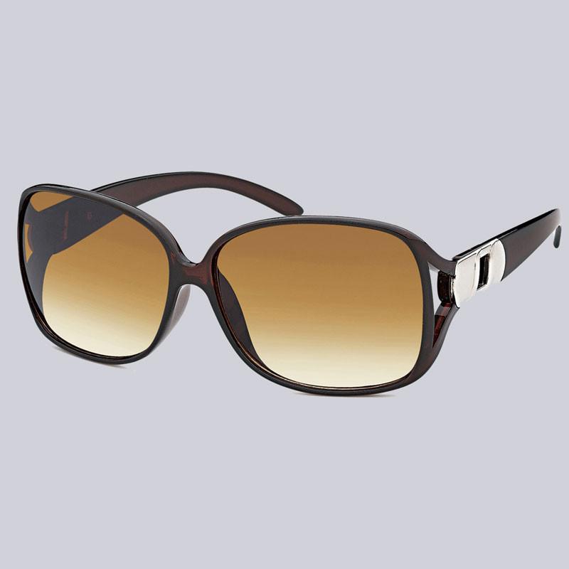 Eine wunderschöne Sonnenbrille für Damen. Leicht glänzend mit modernen, silberfarbenen Verzierungen an den Bügeln.