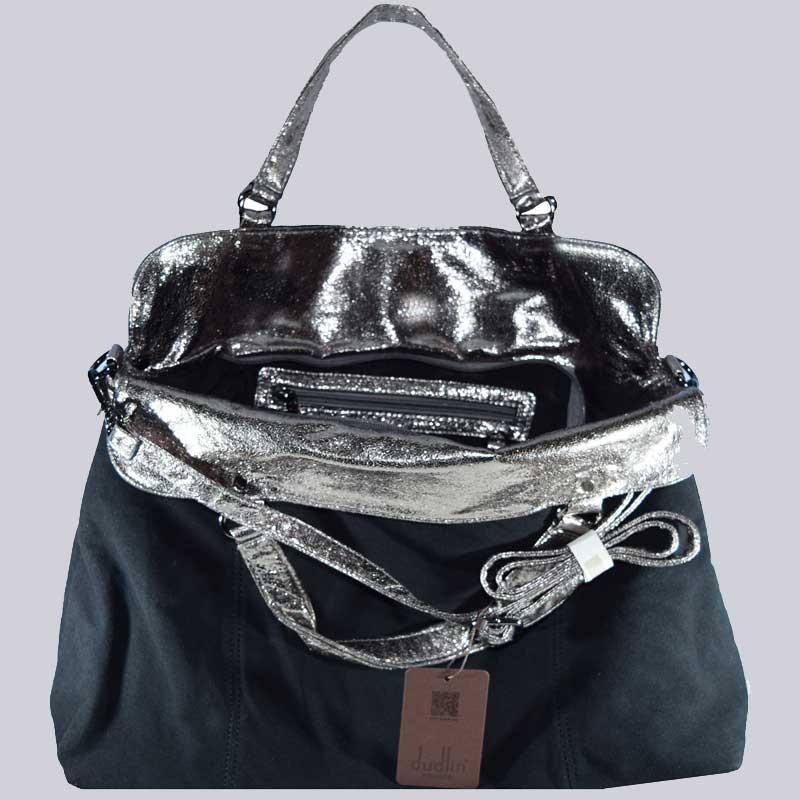 Wunderschöne, extravagante, große Handtasche. Schwarz, silberfarben.