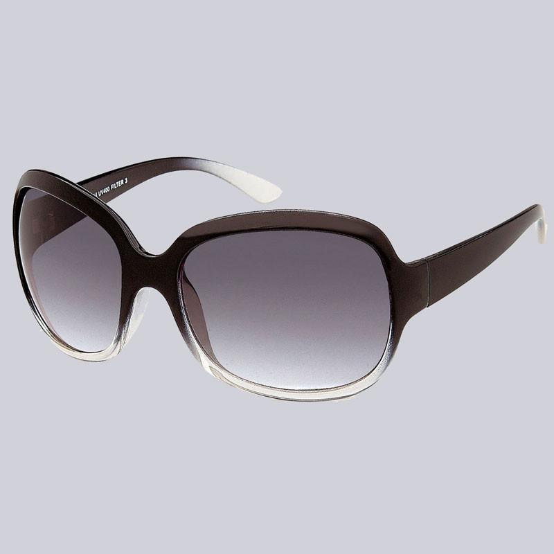 Wunderschöne, moderne Sonnenbrille für Damen. Gläser mit Verlauf, schwarz/klar. Schwarze Bügel.