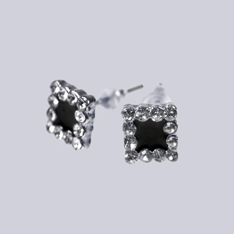 Wunderschöne Ohrstecker mit Modeschmuck-Stein, silberfarben, schwarz.